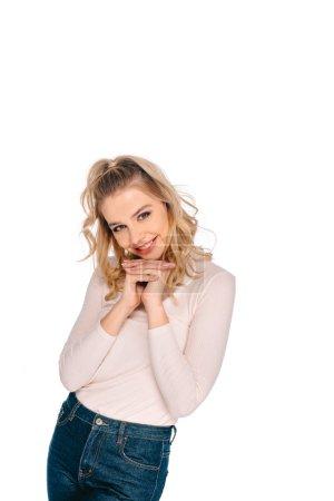 Photo pour Portrait de la belle jeune femme blonde souriant à la caméra isolé sur blanc - image libre de droit