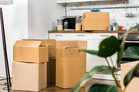 Photo for Interior of modern kitchen with cardboard boxes during relocation at new home - Royalty Free Image