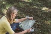 "Постер, картина, фотообои ""молодой турист ищет назначения на карте в парке"""