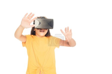 cute kid using virtual reality headset isolated on white