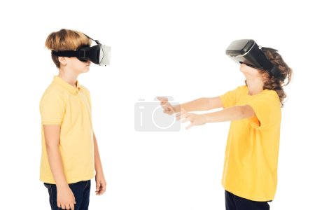 side view of kids using virtual reality headsets isolated on white