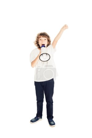 full length view of preteen boy yelling in megaphone and raising hand isolated on white