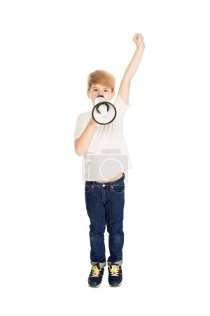 cute kid holding loudspeaker and raising hand isolated on white