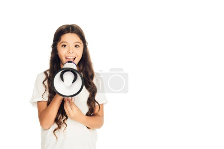 happy child holding loudspeaker and looking at camera isolated on white