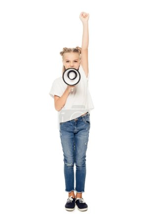 adorable child yelling in megaphone and raising hand isolated on white