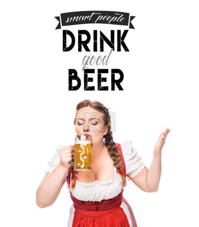 """oktoberfest waitress in traditional bavarian dress drinking light beer isolated on white background with """"smart people drink good beer"""" inspiration"""