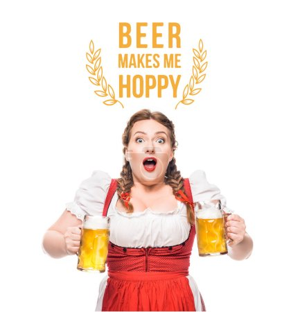 "shocked oktoberfest waitress in traditional bavarian dress with mugs of light beer isolated on white background with ""beer makes me hoppy"" lettering"