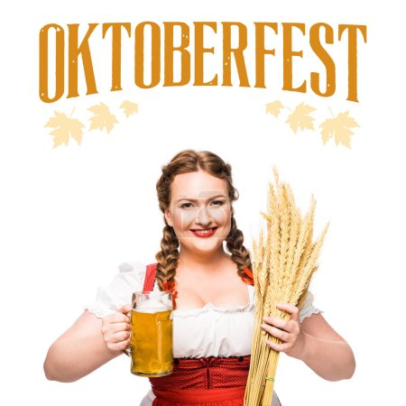"""waitress in traditional bavarian dress with mug of light beer and wheat isolated on white background with """"oktoberfest"""" lettering"""