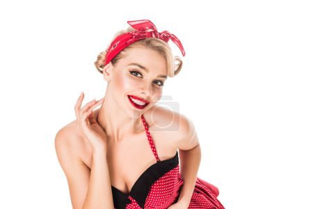 high angle view of stylish young pin up woman with red lips posing isolated on white