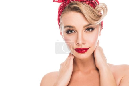 portrait of beautiful pin up woman with red lips isolated on white