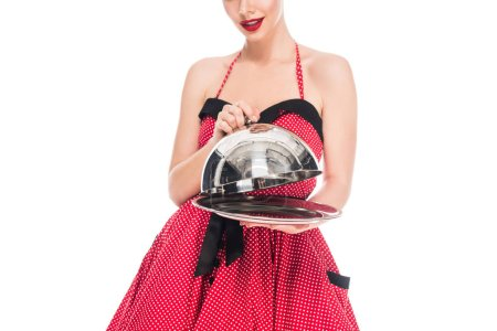 Photo for Cropped shot of pin up woman with empty serving tray isolated on white - Royalty Free Image