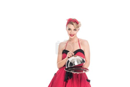 portrait of attractive pin up woman with empty serving tray isolated on white