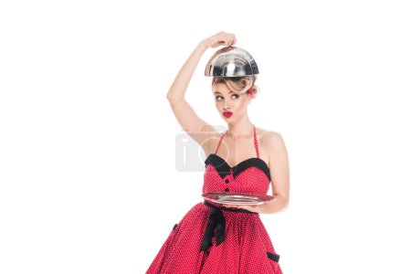 Photo for Portrait of attractive pin up woman with empty serving tray isolated on white - Royalty Free Image