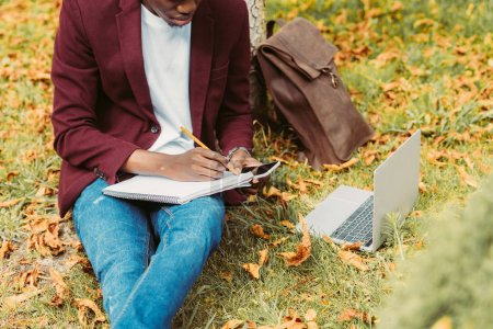 Photo for Cropped view of african american freelancer writing documents, working with laptop and smartphone on grass in park - Royalty Free Image