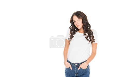 Photo for Beautiful girl in white t-shirt isolated on white - Royalty Free Image