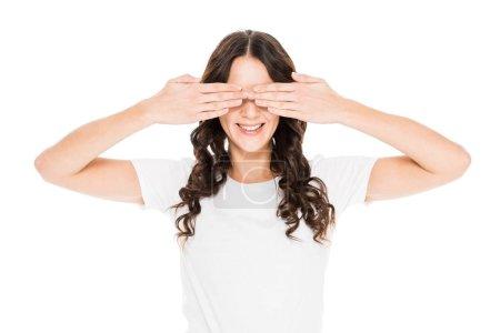 Photo pour Sourire belle fille fermer les yeux isolé sur blanc - image libre de droit