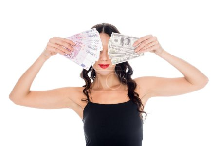 obscured view of woman with dollar and euro banknotes in hands isolated on white