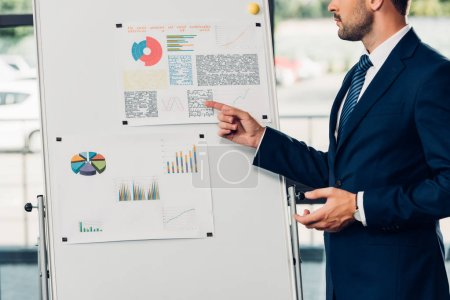 Photo for Partial view of lecturer pointing at white board during presentation in conference hall - Royalty Free Image