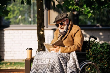 senior disabled man in wheelchair with palid reading book on street