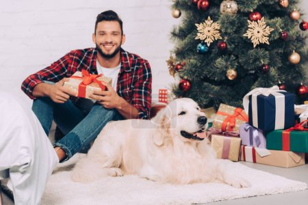 joyful young man holding gift box and golden retriever sitting near christmas tree at home