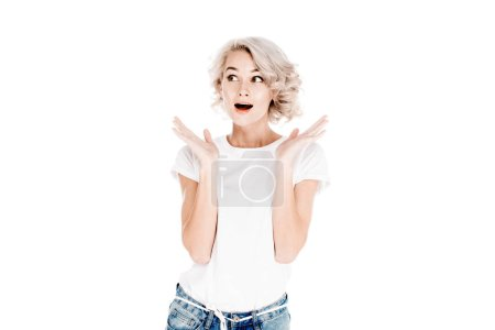 Fantastic beautiful surprised woman with slightly open mouth isolated on white