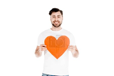 Photo for Handsome smiling man showing red big heart shape sign isolated on white - Royalty Free Image