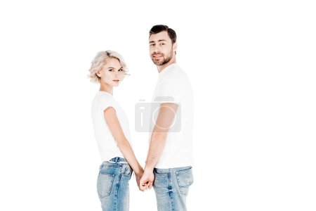Happy couple holding hands isolated on white