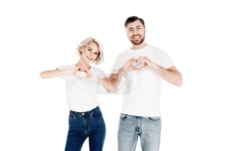Wonderful couple showing heart shape gesture with fingers love isolated on white