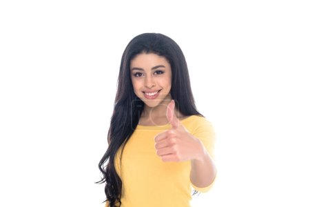 beautiful young african american woman showing thumb up and smiling at camera isolated on white
