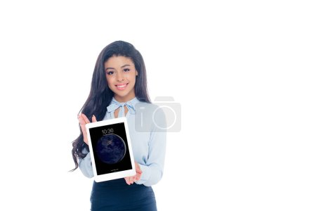 Photo for Beautiful young african american woman holding ipad tablet and smiling at camera isolated on white - Royalty Free Image