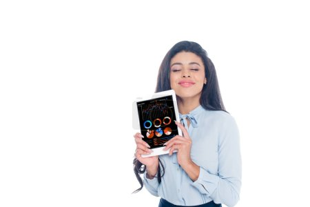 happy young african american woman holding digital tablet with business charts isolated on white