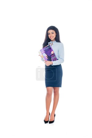 Photo for Attractive young african american woman holding beauty magazines and smiling at camera isolated on white - Royalty Free Image