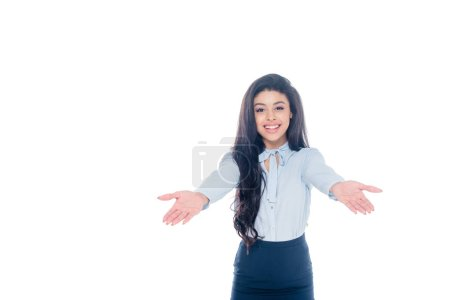 joyful beautiful african american businesswoman with wide arms isolated on white