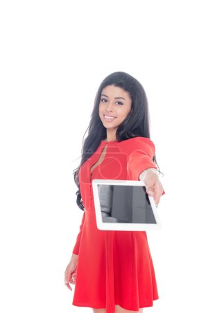 happy african american girl showing digital tablet with blank screen isolated on white