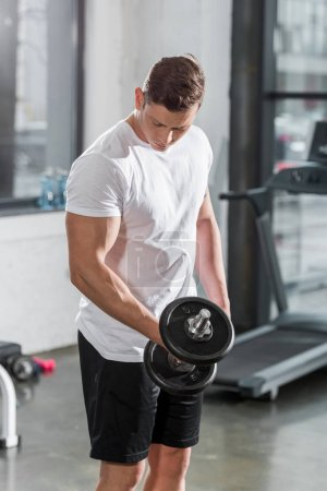 handsome muscular bodybuilder exercising with dumbbell in gym