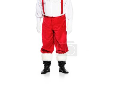 Photo for Cropped shot of santa claus in suspenders isolated on white - Royalty Free Image