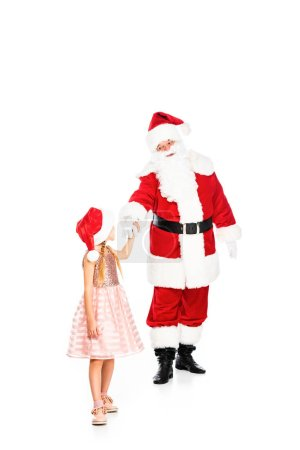 santa claus and little child holding hands isolated on white