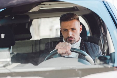 Handsome man sitting in car and holding steer
