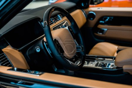 selective focus of car seat of luxury automobile