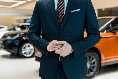 cropped image of businessman in formal suit posing at dealership salon