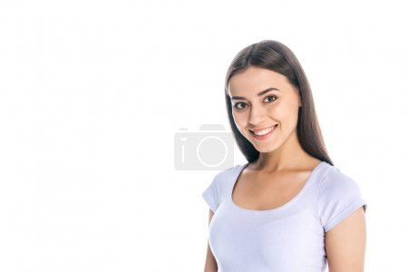 Photo for Portrait of smiling pretty woman looking at camera isolated on white - Royalty Free Image