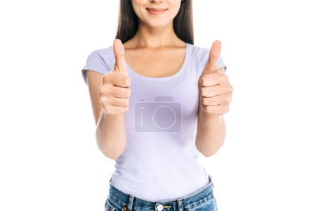 cropped shot of woman showing thumbs up isolated on white