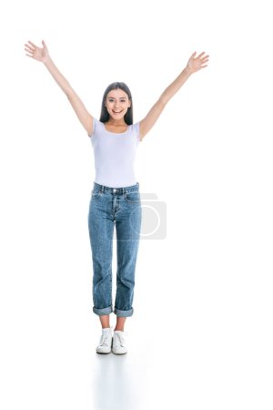 beautiful excited woman in stylish clothing gesturing isolated on white