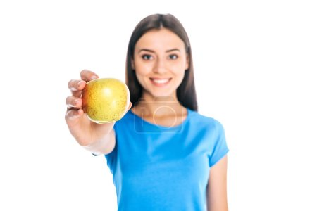 Photo for Portrait of smiling woman holding fresh apple isolated on white - Royalty Free Image