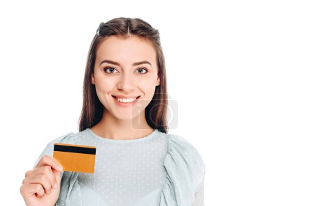 portrait of smiling woman with credit card isolated on white