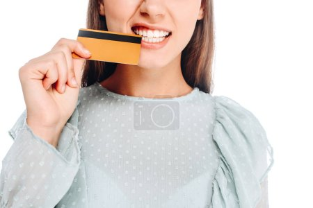 cropped shot of woman with credit card isolated on white