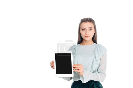 portrait of woman with tablet with blank screen isolated on white