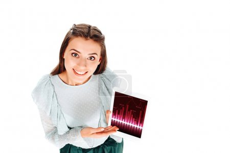 high angle view of smiling young woman with tablet isolated on white