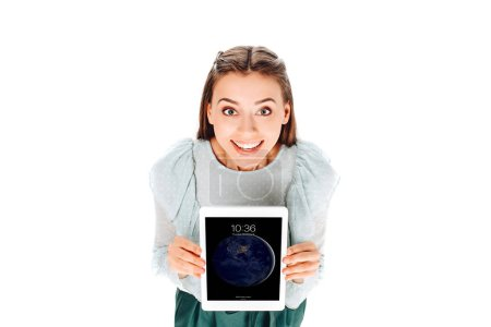 high angle view of cheerful woman with tablet on screen isolated on white