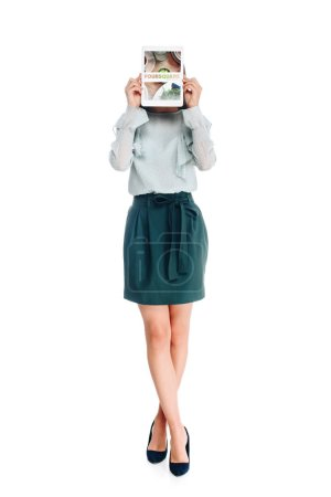 obscured view of woman with tablet with foursquare logo on screen isolated on white